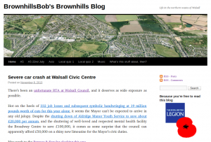 BrownhillsBob's blog about the latest excess of Walsall MBC. Click to visit the site.